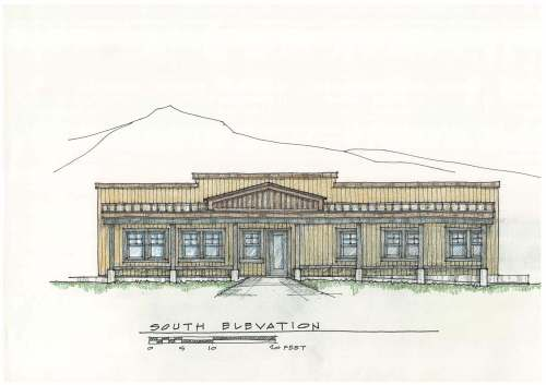Architect's drawing of new Stanley Community Library